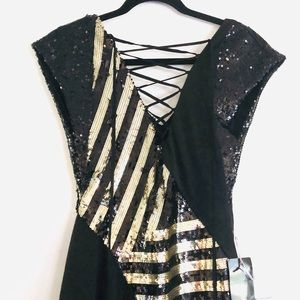 bebe Gilt Trip Deep V Asymmetrical Sequin Dress